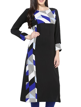 black, blue poly crepe kurta
