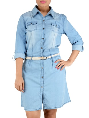 blue 100% cotton denim dress