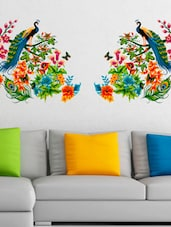 Wall Stickers Peacock Birds On Colourful Branch Leaves Wall Design Sofa  Background Vinyl   Online Shopping Part 50