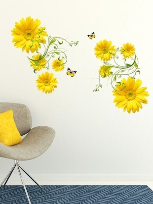 Wall stickers flowers yellow daisy with green vine wall art design living room office decor