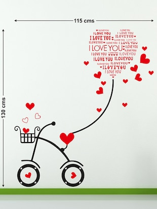 Wall Stickers Heart-shaped I Love You Kids Room Bicycle with String Decal Cute - 10357404 - Standard Image - 2