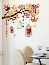Wall Stickers Branch With Colourful Decorative Elements Living Room Art Decal Birds And Cages