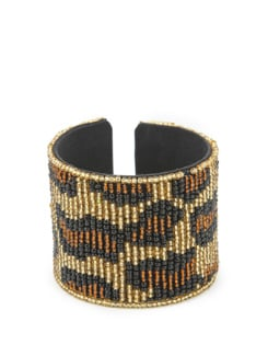 Black And Brown Beaded Cuff - Accessory Bug