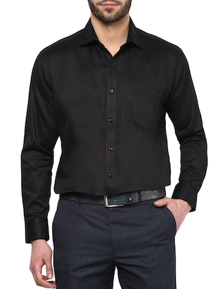 black colored, cotton formal shirt