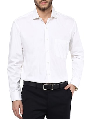 white colored, cotton formal shirt