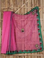Embroidered Border Sheer Crepe Saree - Aari Taari