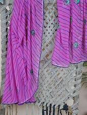 Embroidered Lehariya Georgette Saree - Aari Taari
