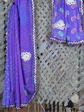 Printed & Embroidered Lehariya  Georgette Saree - Lazza