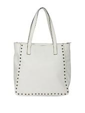 White Embellished Pu Handbag - Adaira