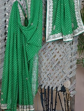 GEORGETTE Gota Patti Embroidered Leharia Saree - Libaaz