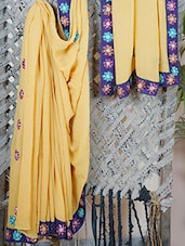 GEORGETTE Floral Embroidered Saree - Libaaz