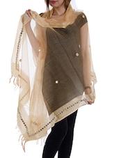 Brown Tissue Plain  Dupatta - By