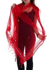 Red Tissue Plain  Dupatta - By