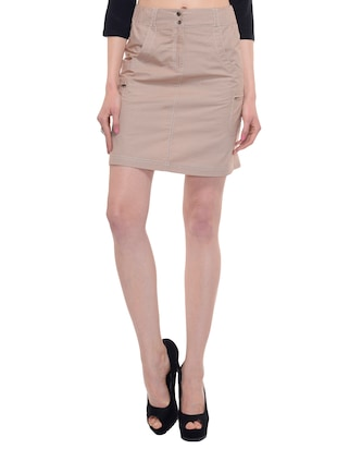 A Luv Ya  Khaki Cotton Above the knee Skirt