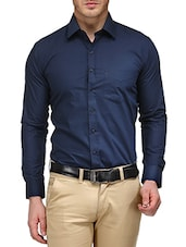 blue cotton blend formal shirt -  online shopping for formal shirts