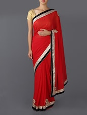 Zari Bordered With Embroidery Saree - Saree Street