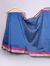 Plain Dark Blue Bordered Cotton Silk Saree - WEAVING ROOTS