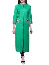 Green Rayon Long  Kurta - By