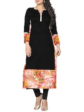 Ziyaa Black Colored Full Sleeve And Keyhole Neck Faux Crepe Kurta - By