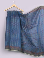 Woven Floral Border Super Net Saree - WEAVING ROOTS
