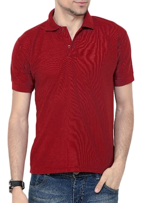 maroon poly cotton tshirt