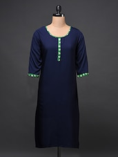 Solid Color Kurti With Contrast Details - Free Living