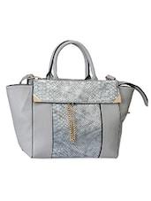 Grey Crock Textured Embellished Hand Bag - Alonzo