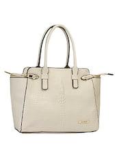 Beige Textured Classy Handbag - Alonzo