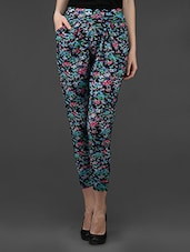 Multi Floral Printed Polyester Harem Pant - Dashy Club