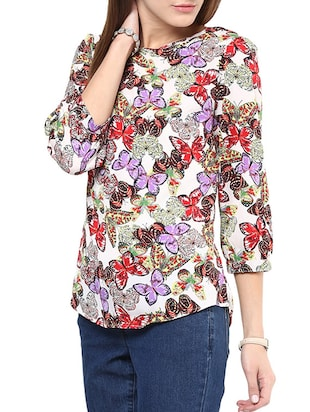 purple printed regular top - 10401663 - Standard Image - 2