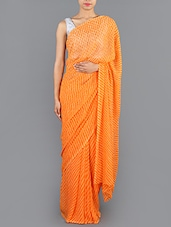 Orange Leheriya Chiffon Saree - Saree Street