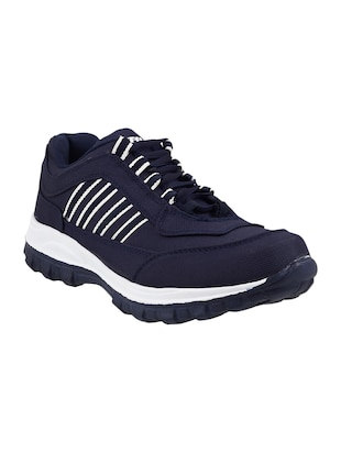 blue canvas trekking shoe