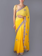 Yellow Ombre Embroidered Saree - Saree Street