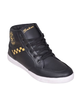 black faux leather sneaker