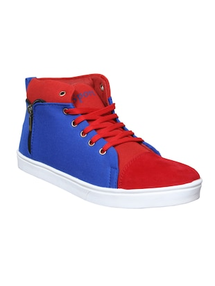 blue , red canvas sneakers