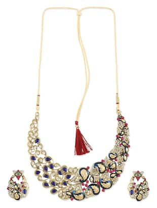 Blue And Pink Kundan Necklace Set - 1040905 - Standard Image - 2