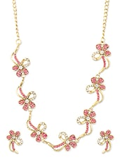 Pink And White Floral Necklace Set - ZAVERI PEARLS