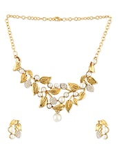 Faux Pearl And Gold Leaf Necklace Set - ZAVERI PEARLS