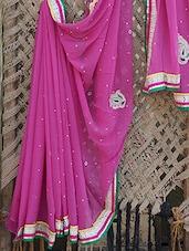 Georgette Embellished Flowy Saree - Bandhni