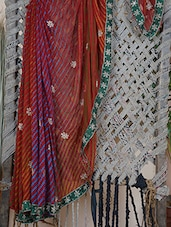 Embroidered Border Lehariya Crepe Saree - Rasiya