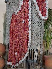 Embroidered Border Bandhej Crepe Saree - Rasiya
