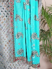 Georgette Paisley Embroidered Saree - Bandhni