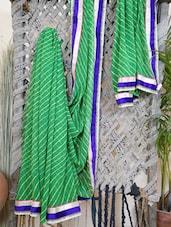 Zari Bordered Synthetic Leheriya Saree - Bandhni