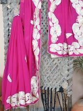 Zari Embroidered Border Synthetic Sheer Saree - Aari Taari