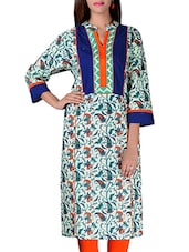 Only Blue & White Cotton Paisley Print Kurta With Striking Blue And Orange Neckline - By