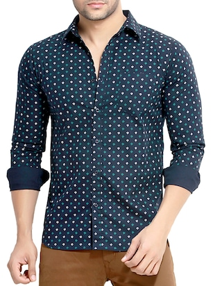 navy blue printed cotton casual shirt