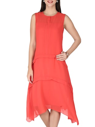 red assymetric dress