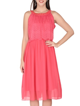 pink  georgette, lace dress