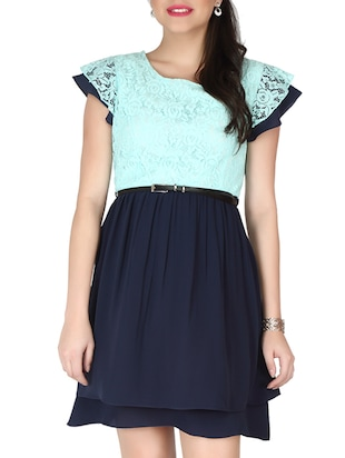 navy blue, turquoise georgette, lace dress