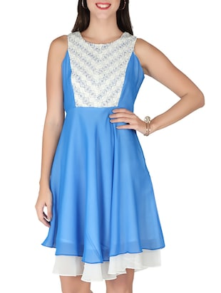 blue, off white georgette dress